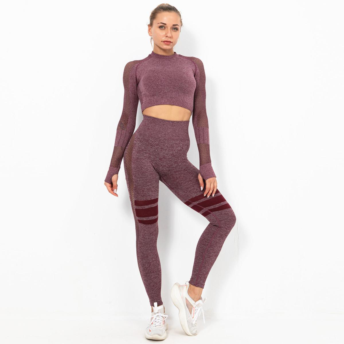 Kesintisiz takım spor giyim köpekbalığı yoga spor yüksek bel pantolon kadın sıkı tayt spor fitness