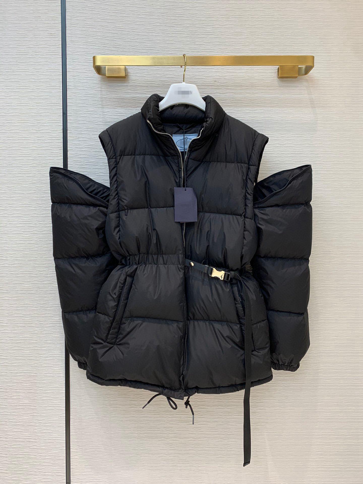 ile ceket aşağı 20FW kadın donu siyah orta boy bayanlar ayrılabilir kollu yelek yelek fermuar fazla aşınma ile ceket aşağı