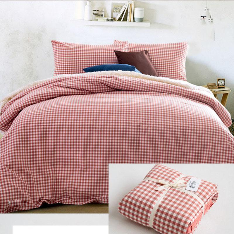 CHAUSUB Nordic Quality Bedding Set 4PCS Solid Color Washed Cotton Duvet Cover Bed Cover Flat Sheets Pillowcase Queen King Size