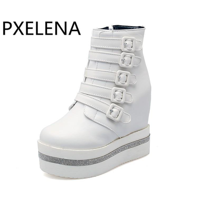 Pxelena 2021 automne hiver puni rocher rocher gothique cheville bottines femmes chaussures boucle cachée talons hauts hauts plate-forme plateforme creepers bottes dame