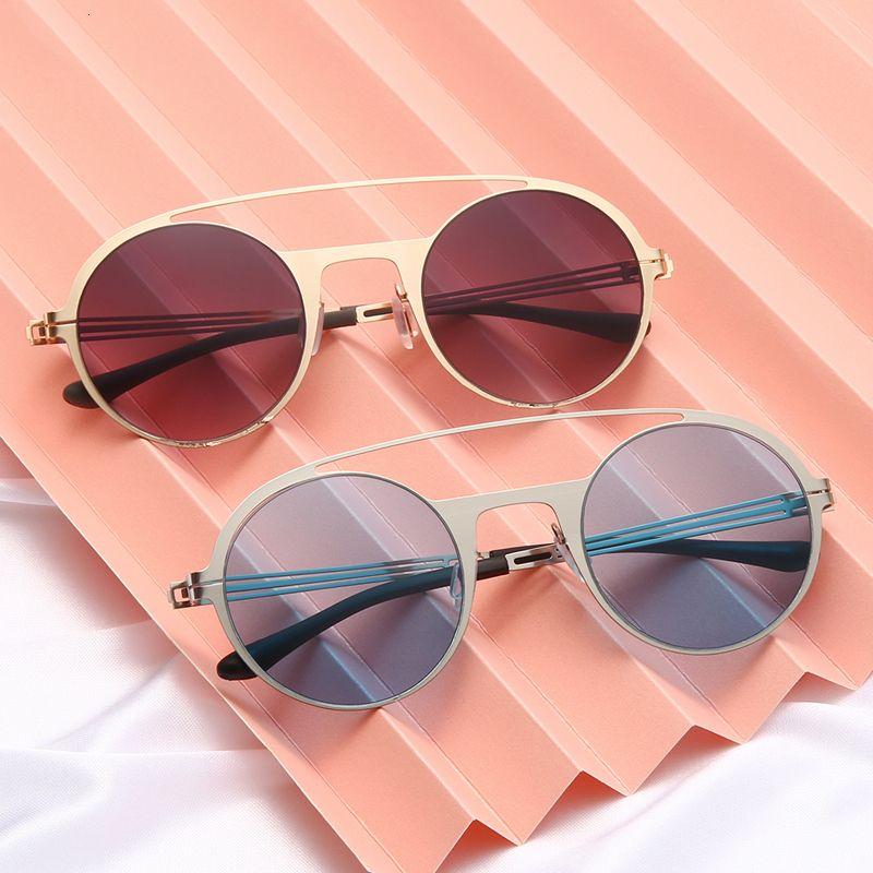 Homens de Sunglasses Oculos Sun 2020 Metal Marca Designer Moda Colorido Vidros Redondos Mulheres Retro Sol Shades UV400 Proteção IEAGP