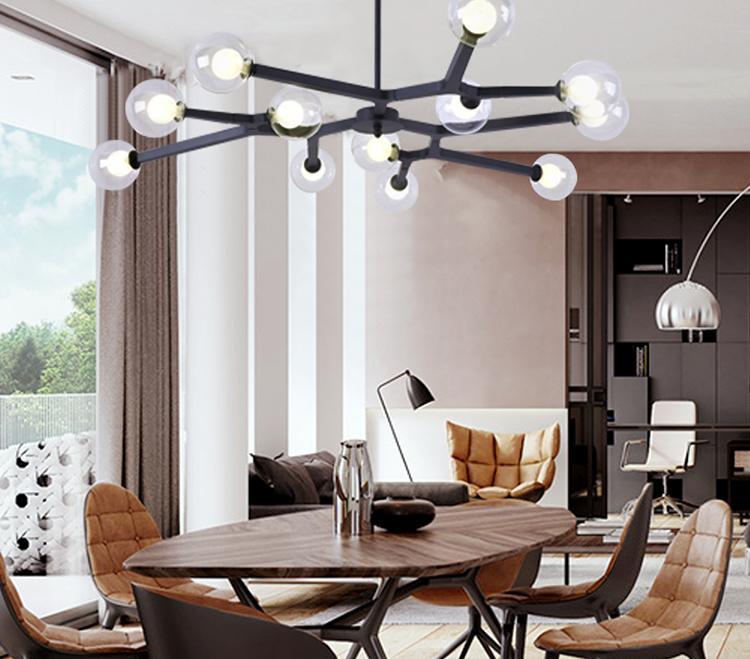 Bubble Rose Gold lampadario in vetro di sputnik lampadario della cucina LED Salon Lounge Tree Branch Chandelier Lighting Fixtures