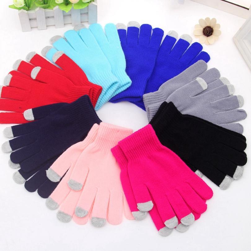 Зима Сенсорные перчатки Упругие мужчин и женщин моды Вязаная Finger осень и зима теплая Вязаные Перчатки 17colors HHA1627
