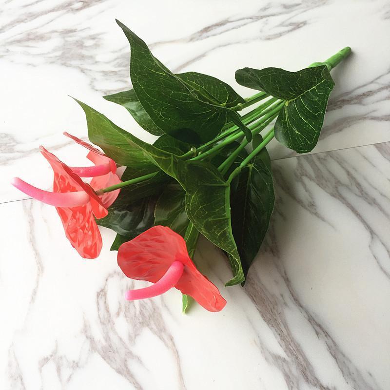 1bunch искусственный цветок красный ладонь поддельных антуриума букет свадьба рождественские дома украшения