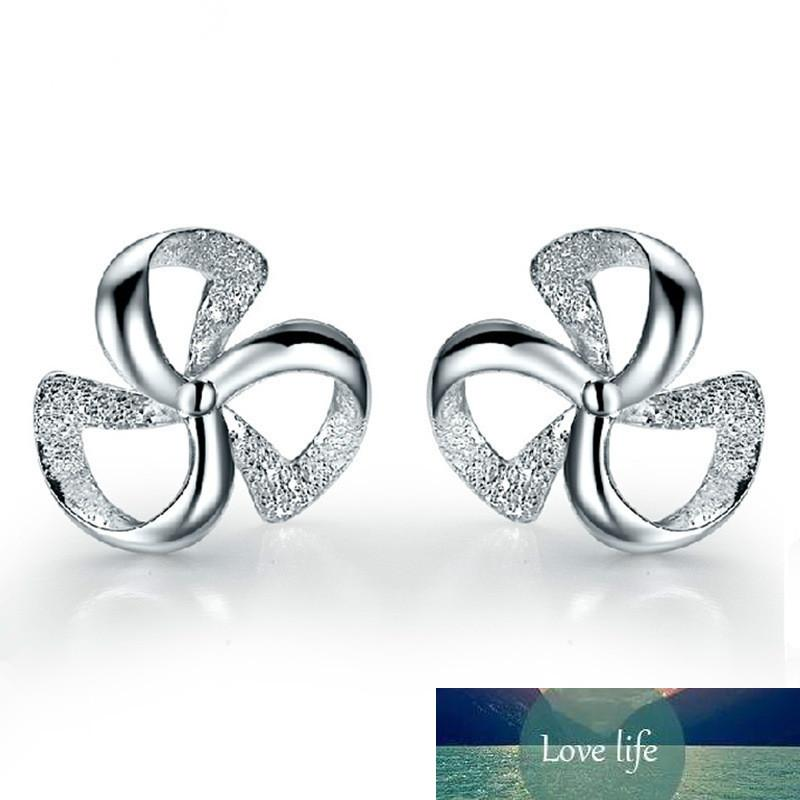 100% 925 Sterling Silver Fashion Flower Ladies Stud Earrings Jewelry Women Anti Allergy Wholesale Gift Drop Shipping Cheap