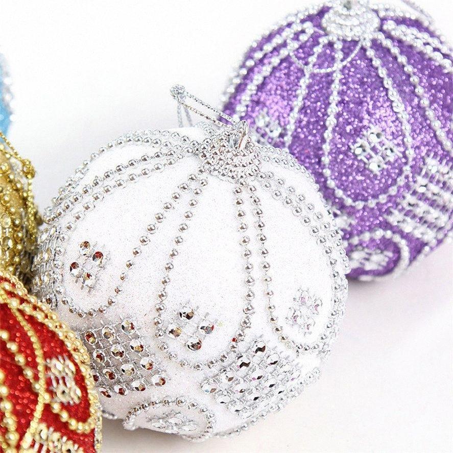 0822 # 30 JWAH # 2019 Yeni Noel Toplar 8CM Rhinestone Glitter Baubles Noel Toplar Xmas ağacı Süsleme Dekorasyon