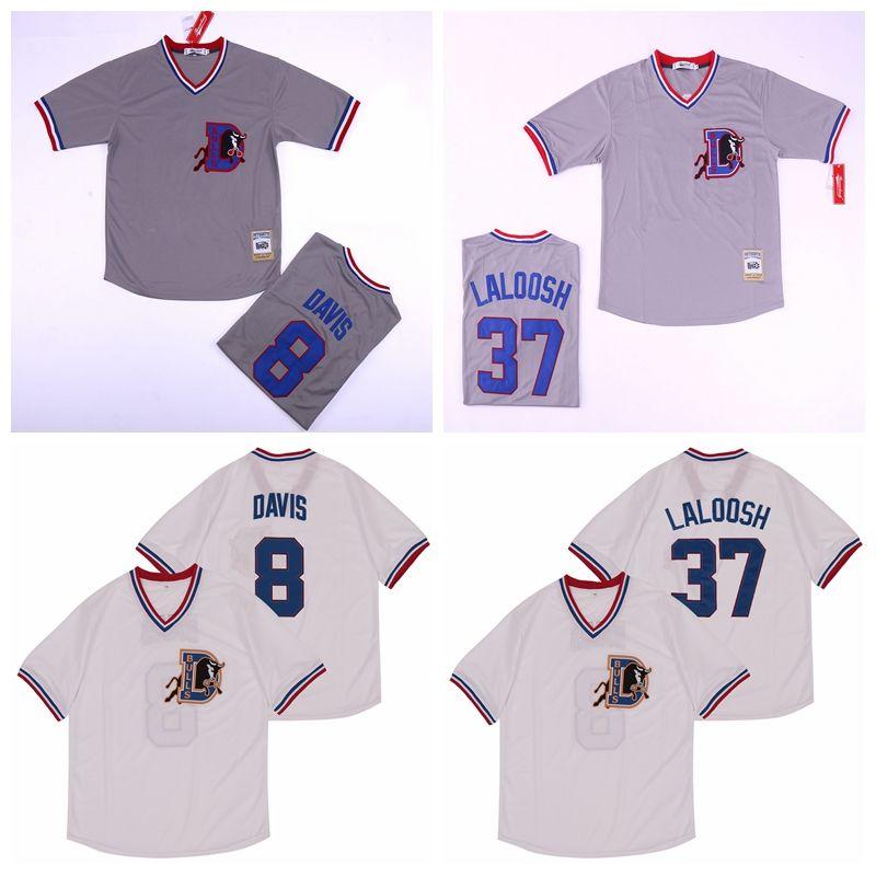 1988 Bull Durham 37 Nuke LaLoosh Jersey Men Beyzbol 8 Crash Davis Takım Gri Renk Beyaz Kazak Baz Dikişli Üst Kalite Soğuk