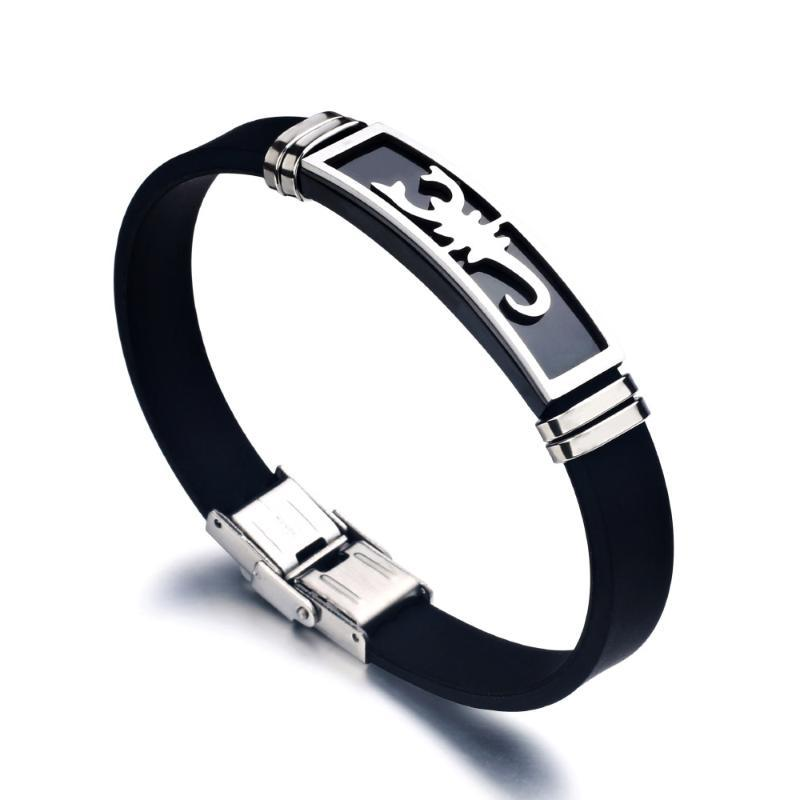 Liujun Brand Titanium Stainless Steel Scorpion Silicone Bracelet Fashion Charm Men's Accessories Jewelry Gifts for Friends