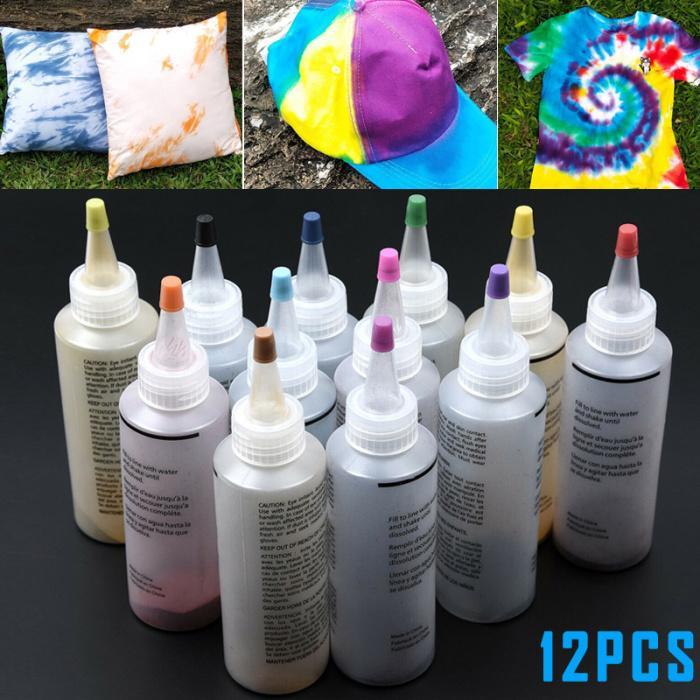 12 Bottles Kit Muti-Color Dyes Permanent Paint Tie Dye Kit Permanent One Step Tie Dye Set For DIY Arts ClotheS Fabric Drop