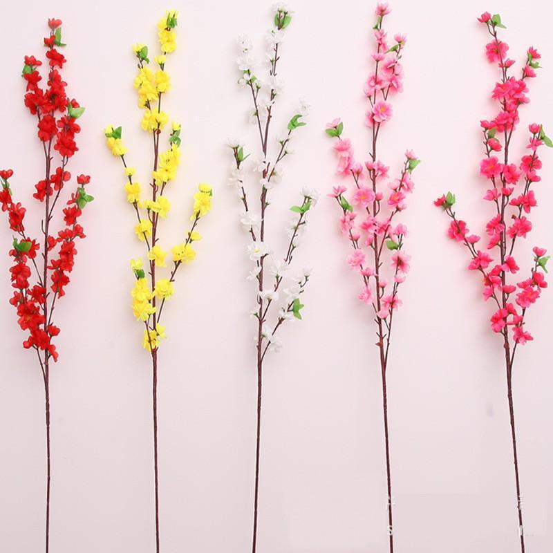 Flores artificiales Peach Blossom Cherry Ornamental Rama Largo Estilo corto Fiesta de boda Sala de estar Hotel Decoración de interior Flor Nuevo 2 49HR G2
