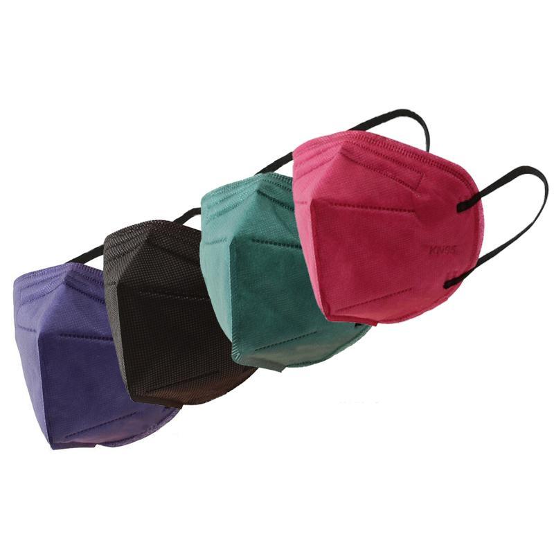 Masques KN95 non-tissé masque jetable pliant visage tissu anti-poussière coupe-vent respirateurs Anti-brouillard anti-poussière extérieure Masques Bleu Rouge Noir