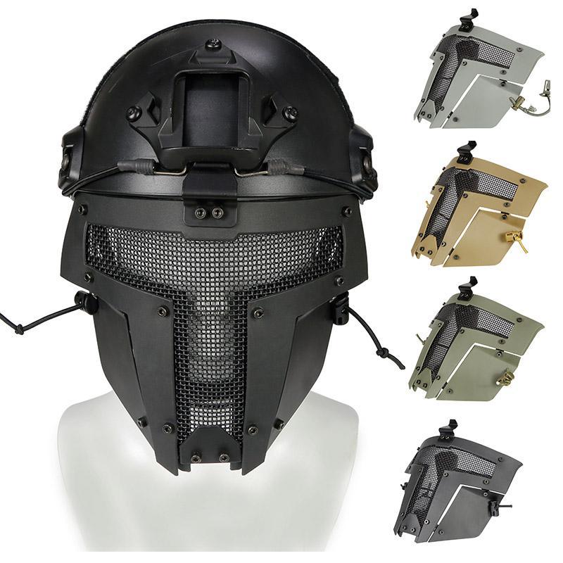 Airsoft esterno Shooting Face Protection Gear Tactical Fast Helmet Mount Acciaio Maglia MASH MASH P03-116