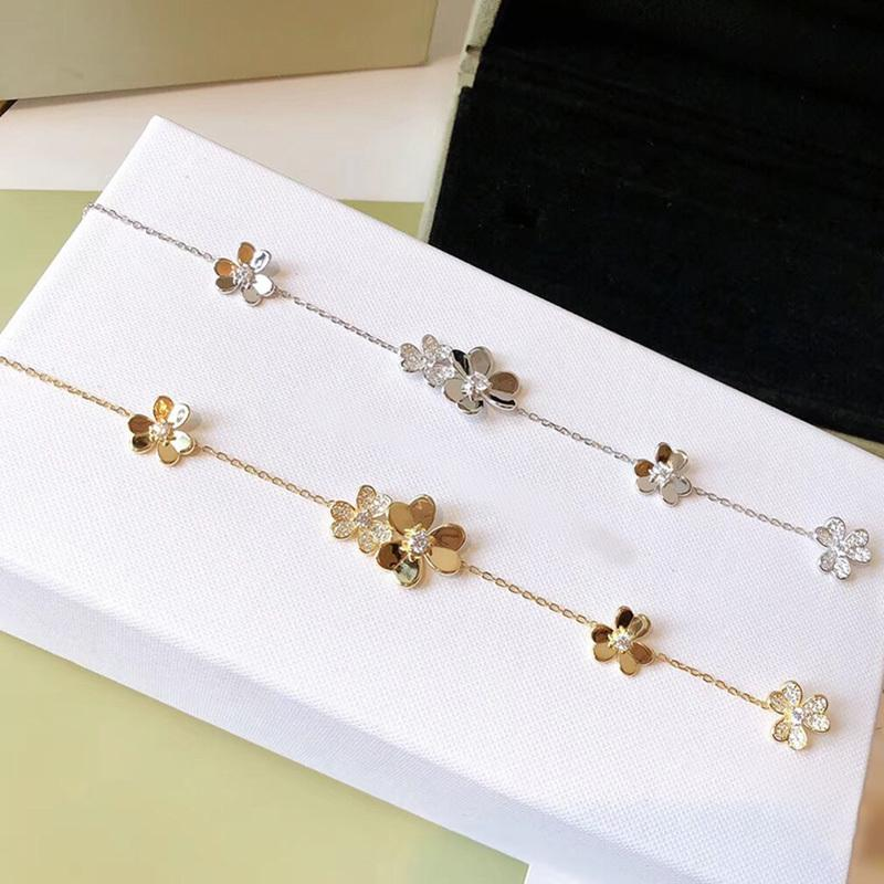 Brand Pure 925 Sterling Silver Jewelry For Women Silver Chain Clover Bracelet Praty Wedding Jewelry Gold Color Flower Bracelet 1028