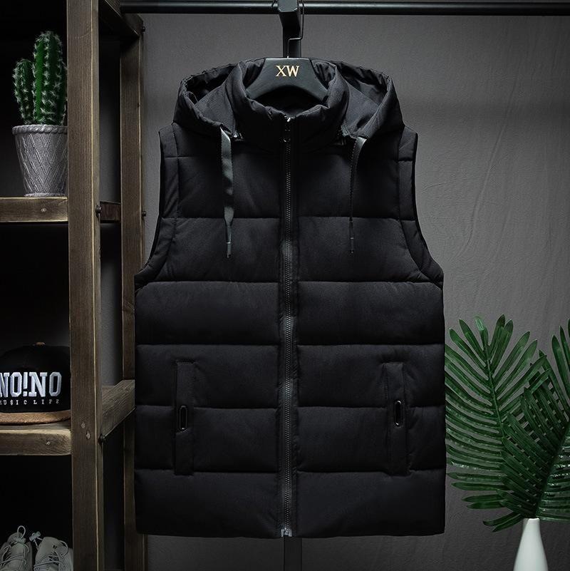 Мужские жилеты зимняя куртка без рукавов мужчины повседневный жилет теплые толстые пальто с капюшоном мужской хлопчатобумажный наклад