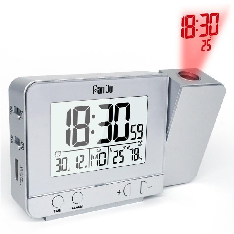 FANJU FJ3531 Réveil de projection avec projection de température et d'heure / chargeur USB / de la température intérieure et du bureau d'humidité1