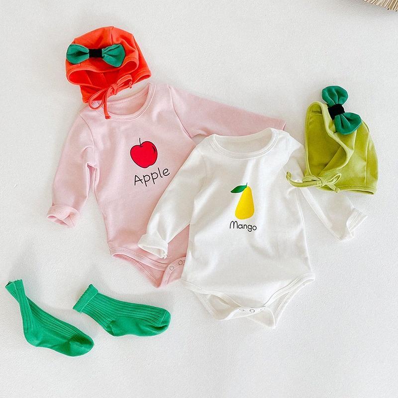 2020 2020 Atacado Meninas Meninos Impresso Romper com o chapéu Algodão completo manga Outono Inverno Babys Macacão 6 24 meses V4RA #
