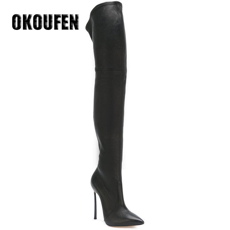 35-43 PU / pelle scamosciata 2 opzione con un punto in formato molla punta sopra il ginocchio stivali scarpe stivali donne lunghe al ginocchio con i talloni metallici c1023