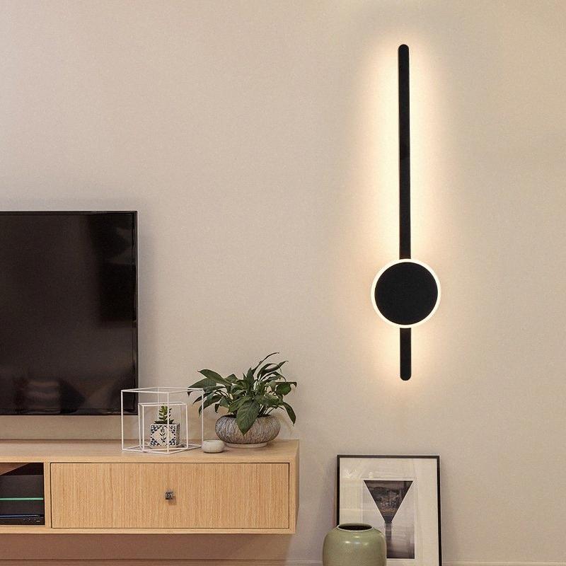 Moderno Minimalista Arte Lámpara de pared Nórdica Línea de sala de estar Lámpara de pared Escaleras Fondo Lámparas decorativas Luces 8Eie #