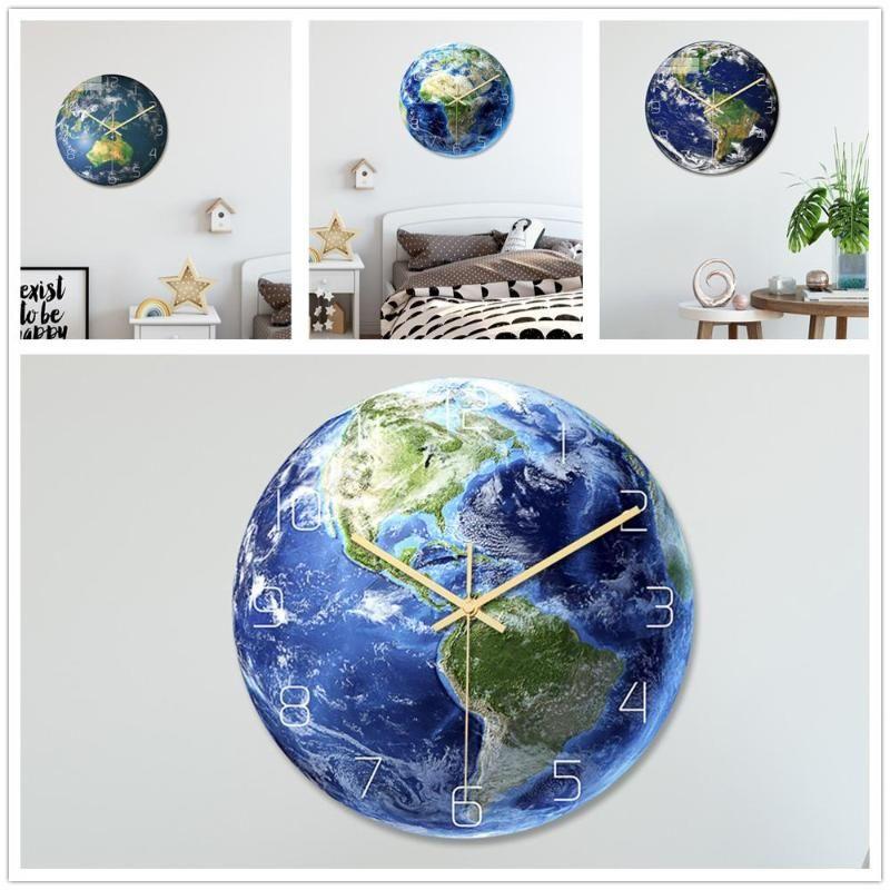 Duvar Saatleri Gece Parlayan Dünya Saati Koyu Floresan Aydınlık İğne Sanatları Horloge Çocuk Odası Dekorasyon Için Oturma Ev Dekor