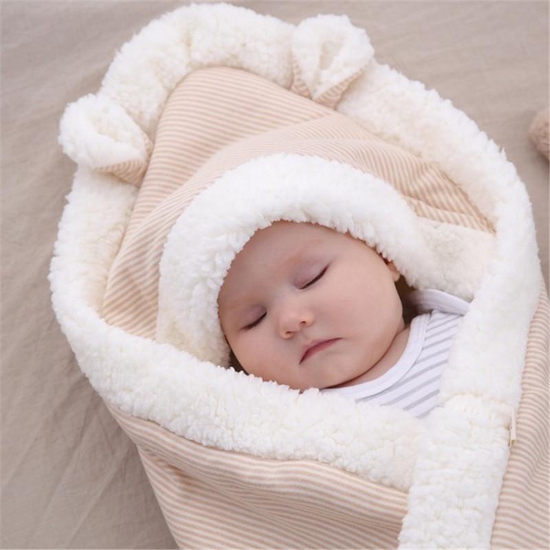 Bébé Automne Hiver doux Thicken Couverture du nouveau-né Enveloppe poussette Wrap gigoteuses Chancelière Toison thermique Swadding Wrap 201022