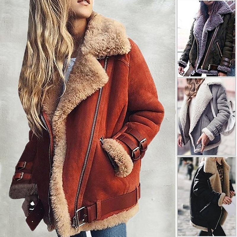 Женщины Faux Sharling Sheepskin Пальто Кожа Толстая Замшевая Куртка Женская Осень Зимние Ягнят Шерсть Короткие Мотоциклетные Пальто