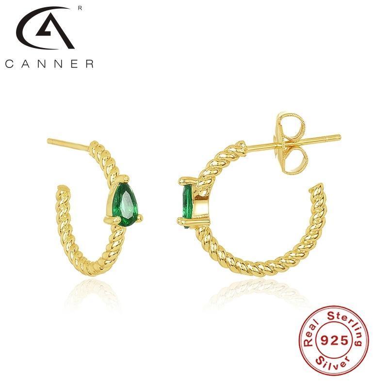 Pendientes de anillo canner para mujeres S925 Pendientes de plata esterlina Hoops Ins Fengshui Drop Saffron Zircon Joyería Fina Pendientes