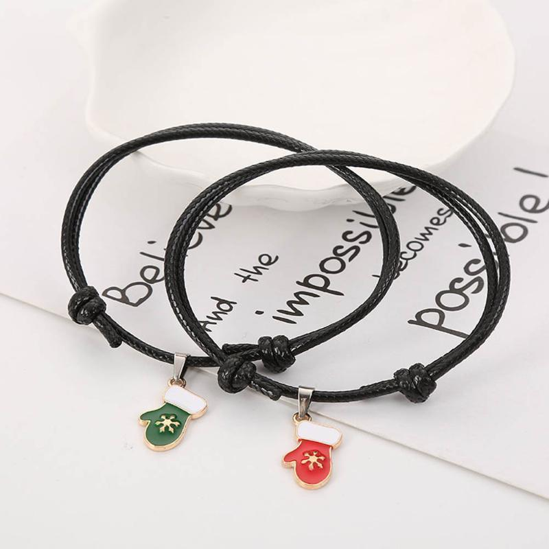 2 pcs / set gants de bonhomme de bonhomme de bonhomme de bonhomme de neige pour femmes et hommes couple bracelet ajustable corde corde bracelets cadeaux de Noël Trendy1