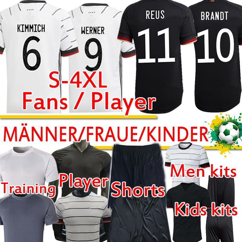 독일 축구 유니폼 팬 선수 버전 훈련 Werner Reus Kimmich Havertz Kroos Gnabry 남성 여성 키트 축구 셔츠 바지 탑