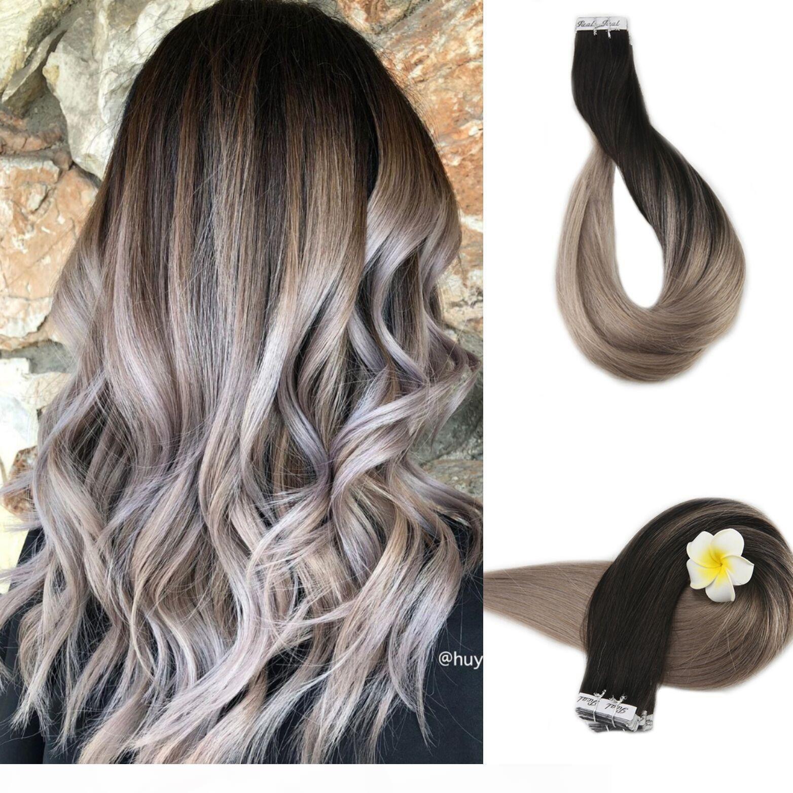 Nastro 9A Grado Virgin capelli umani brasiliani nelle estensioni naturali Dissolvenza in nero per la pelle Biondo Cenere Trama di nastro su 40pcs Hair Extensions 100g