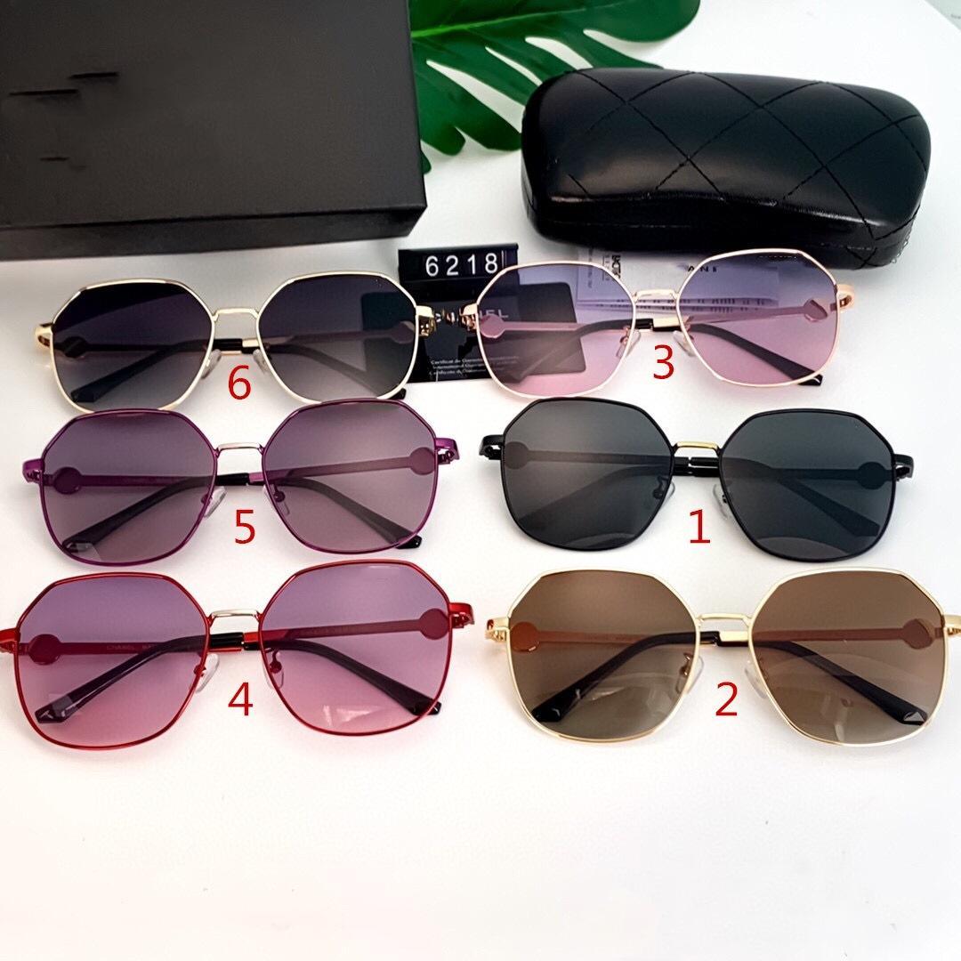 ستة ألوان أزياء مستديرة نظارات شمسية للنساء مصممي فاخر جودة عالية القيادة الاستقطاب نظارات الشمس 6218