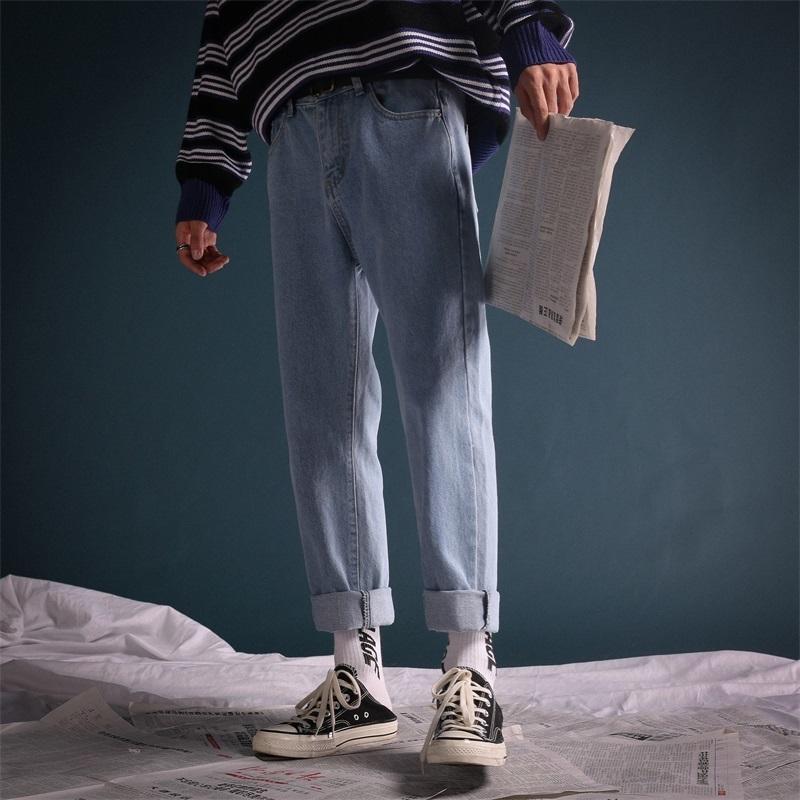2019 Осенние мужские лаконичные моды прилив повседневные брюки стрейч тонкий подходящий классический стирку джинсы черный / синий цвет брюки размер m-2xl