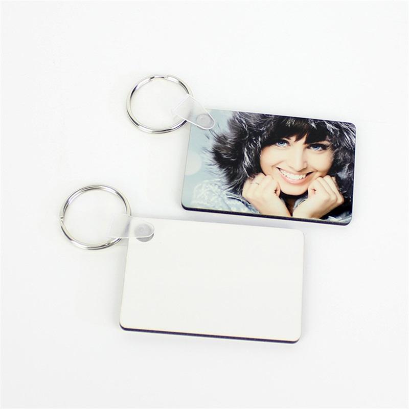 Sublime Blank Anahtarlık MDF Kare Ahşap Anahtar kolye Termal Transfer Anahtarlık Beyaz DIY Hediye çift taraflı 60 * 40 * 3mm Anahtarlık
