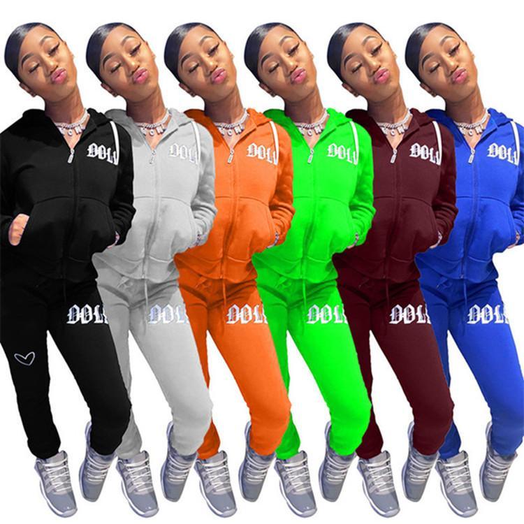 두 조각 세트는 긴 후드 레깅스 운동복 재킷 바지 겉옷 패널로 2020 핫 새로운 스타킹 스포츠 스포츠 소매, 의상 여자