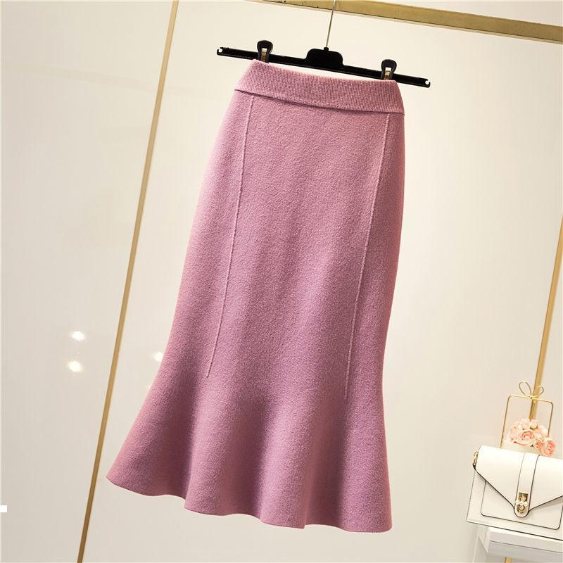 Feminino 2021 Outono Outono High-Winted Solid-colorido Saia Elegante Mesh Maxi Femininas Femininas Y309 OCTS