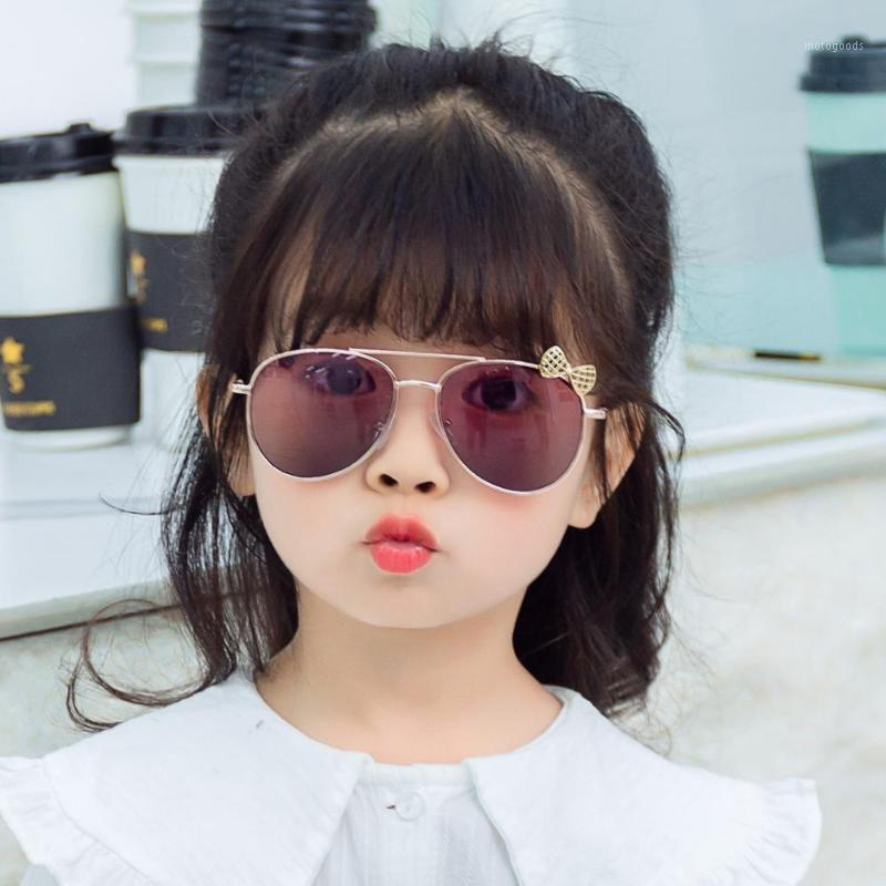 Sevimli Pilot Yay Çocuk Güneş Gözlüğü Marka 2020 Moda Çocuk Kız Erkek Toddler Güneş Gözlükleri Altın Pembe Infantil1