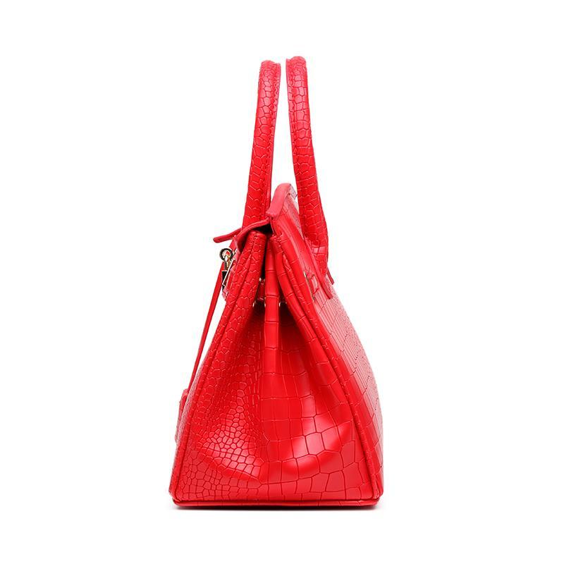 Bagages en cuir Tag Crocodile modèle Birkin Bag Femmes Nouveau mode coréenne style épaule portable Sac à bandoulière mariage nuptiale sac rouge