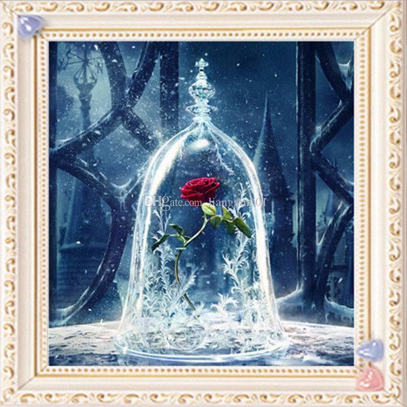 """كامل مربع الماس 5d diy الماس اللوحة """"الأحمر روز زهرة"""" التطريز عبر غرزة حجر الراين فسيفساء اللوحة ديكور المنزل"""