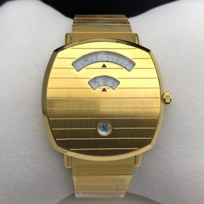 패션 고품질 38mm 유니섹스 여성 망 시계 석영 운동 골드 손목 시계 스테인레스 스틸 몬트르 드 럭스 박스 시계