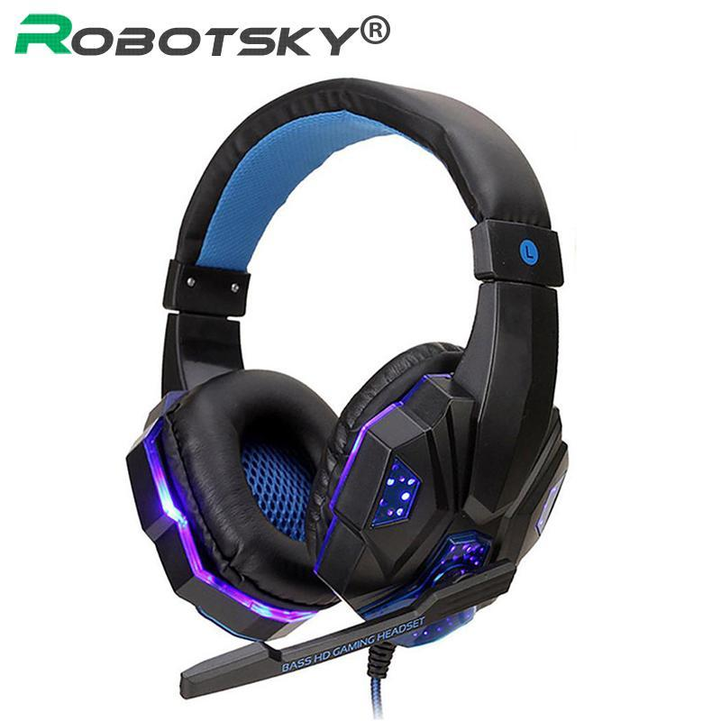 Luminous Gaming Headset Professional Wired Game Headphone Deep Bass Stereo Earphone with Mic Noise Cancelling For PC Laptop