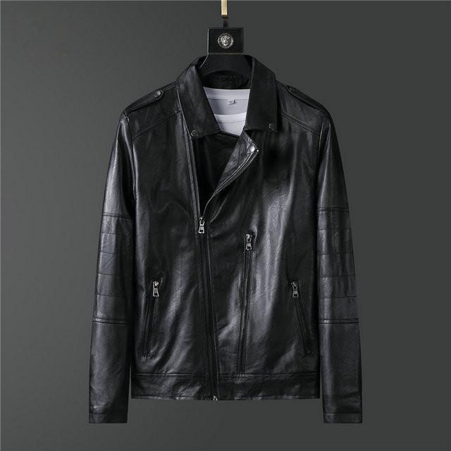 Мужская высокой моды дизайнера осенняя куртка мужская конструктора PU кожаная куртка нагрудные воротник молния Тонкий моды Роскошные мужские пальто куртки