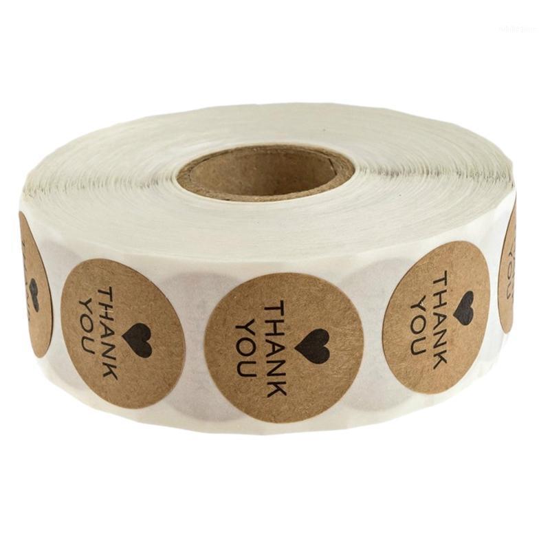 Notes Round Kraft Wedding Grazie Decor Stickers Studente Studente Adesivi / 500 Etichette per rotolo1