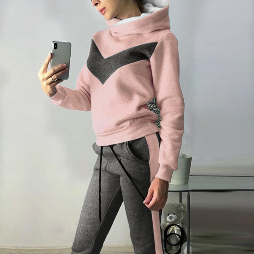 2019 Casual Warm Winter Abbigliamento Due pezzi Set Donne Sport Pullover Felpa Felpa con cappuccio Hoelsuit Donne Top Pantaloni Ropa Mujer Femme