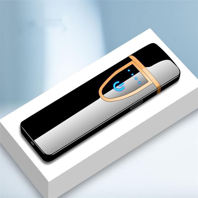 Más nuevo USB RECARGOBLE LIGHTER ELECTRÓNICO Encendedor Despliegue de pantalla táctil sin llama sin llama Colorido a prueba de viento Lighter 9054