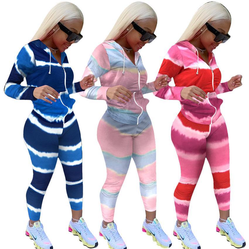 Женщины Bodysuit Cousssit Двухфференц-дизайнеры Ноггинг штаны Outfit Спортивная одежда Градиент Цвет с длинным рукавом Спортивный костюм на молнии украшение F92903