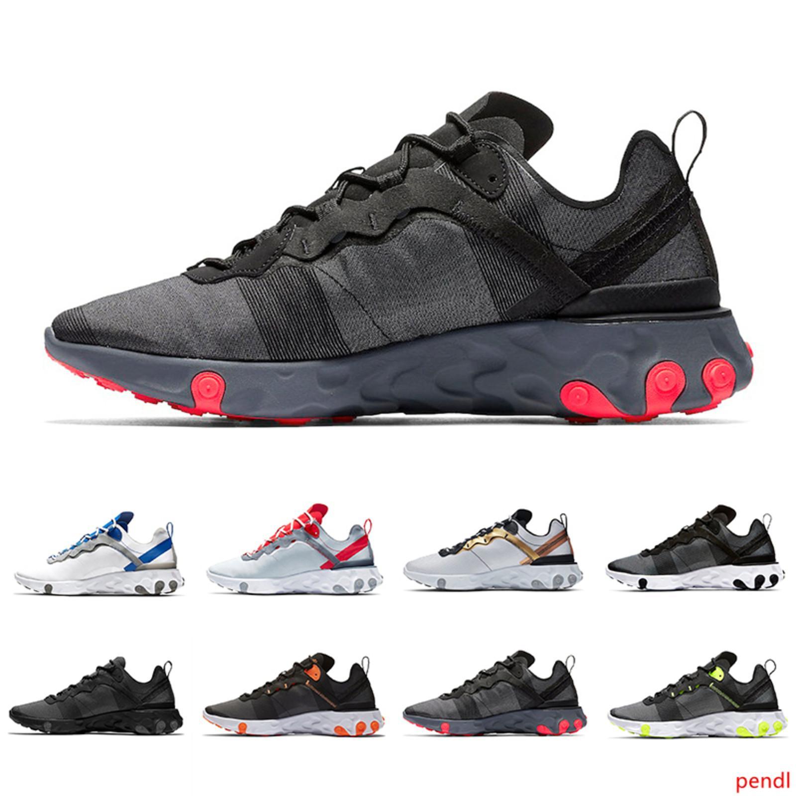 Barato Triple negro rojo solar Reaccionar Elemento 55 Total Hombres Naranja Ejecución zapatos para las mujeres diseñador de las mujeres Deportes instructor para hombre de las zapatillas de deporte 36-45 55s