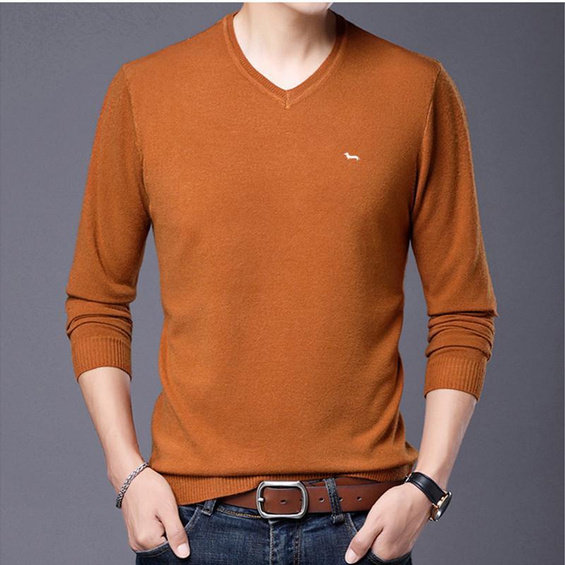 Männer Frühjahr Pullover lässig Pullover Kaschmir Stickerei Harmont V-Ausschnitt blaine Pullover gestrickt