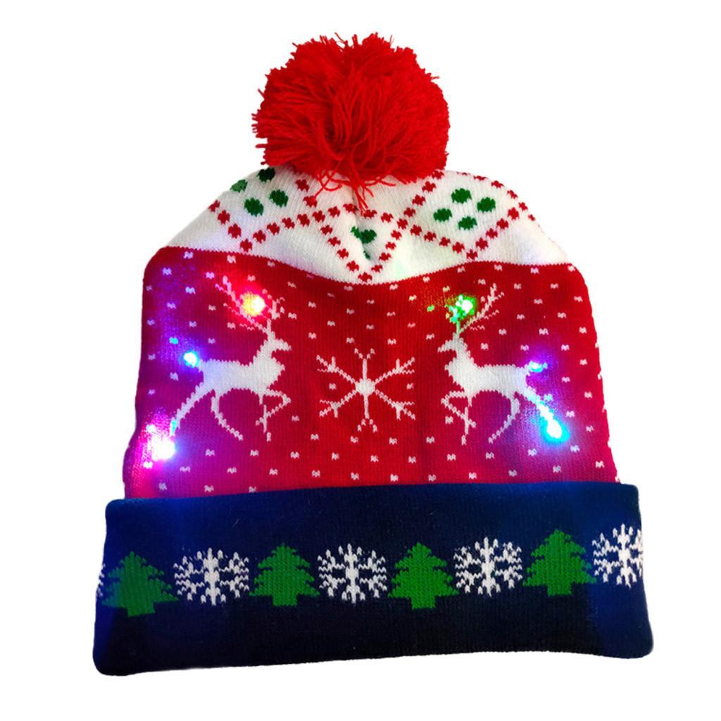 Nuevo Feliz Navidad Adulto Menor Knitting Led Light-up sombreros de la Navidad santa de Navidad Sombrero luces intermitentes casquillo de los niños del sombrero de Navidad GiftX1023