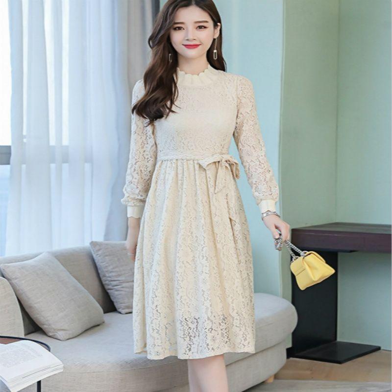 2020 Летний Новый элегантный вскользь платья с длинным рукавом Талия Tie кружевном платье небольшой свежий ретро середины длины юбки