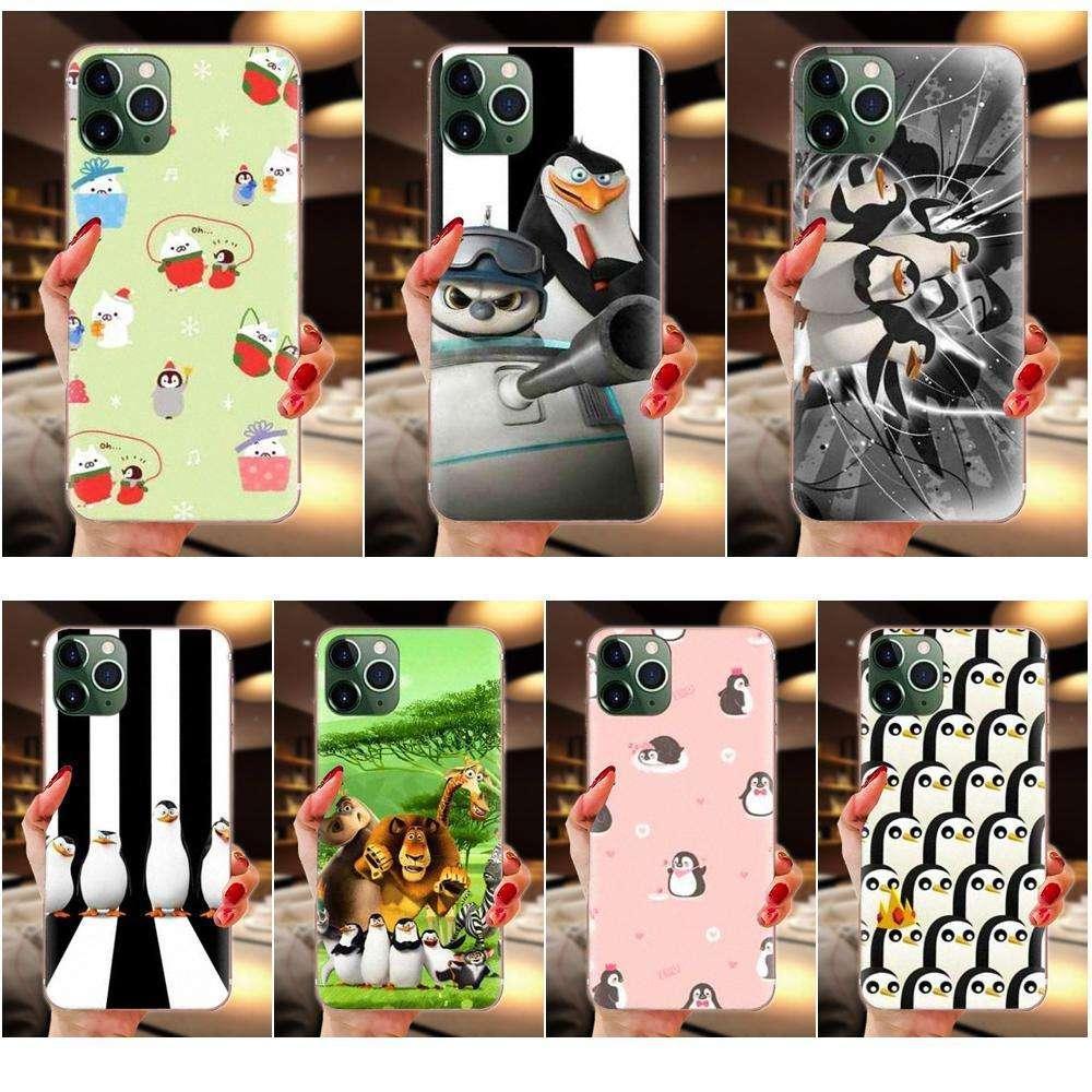 Yumuşak TPU Desen Samsung Galaxy A10 A20 A20E A3 A40 A5 A50 A7 J1 J3 J4 J5 J6 J7 Penguenler Madagaskar