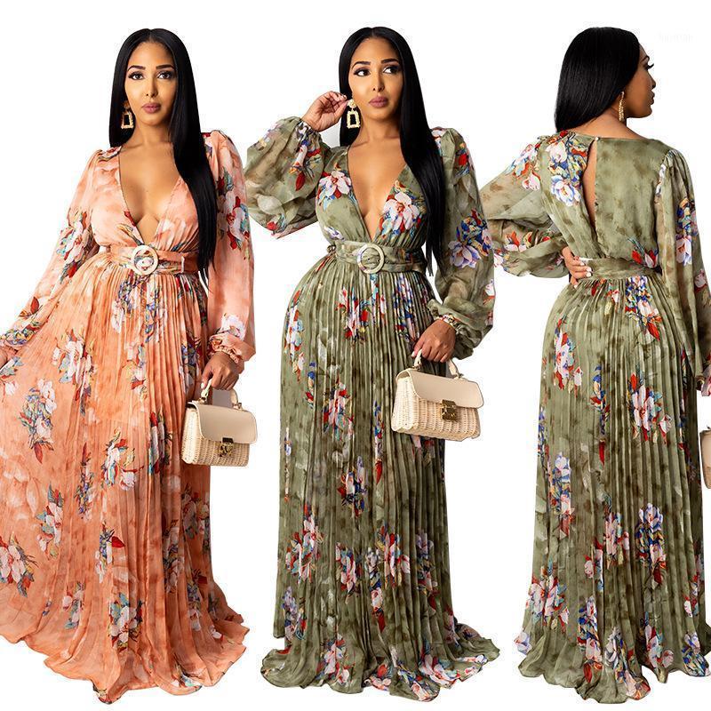 Duthbly Profundo Cuello en V Vestidos Sexy para Mujeres Primavera Impresión Floral Maxi Vestido Plisado Vestido de fiesta Plisado Linterna Funda de Funda Vestidos1